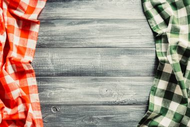 cloth checked napkin on wood