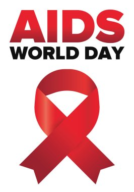 World Aids Day. Red ribbon symbol. Awareness and prevention hiv. Medical healthcare concept. Human support and protection. Celebrated annual in December 1. Poster, banner and background. Vector