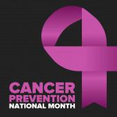 Národní měsíc prevence rakoviny. Slavit výroční v únoru. Kontrola a ochrana. Kampaň za povědomí. Koncept lékařské péče. Plakát se stuhou. Nápis a pozadí. Vektorová ilustrace