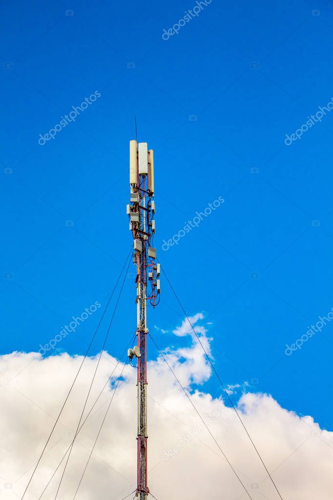 4G, Telecom radio tower or mobile phone base station_