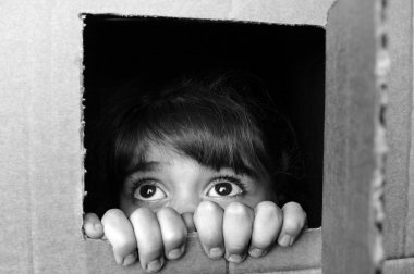 Face of afraid little girl peeking out from a cardboard box