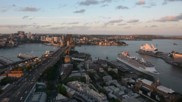 Aerial view Ocean liner Sydney Harbour at dusk in Sydney Australia