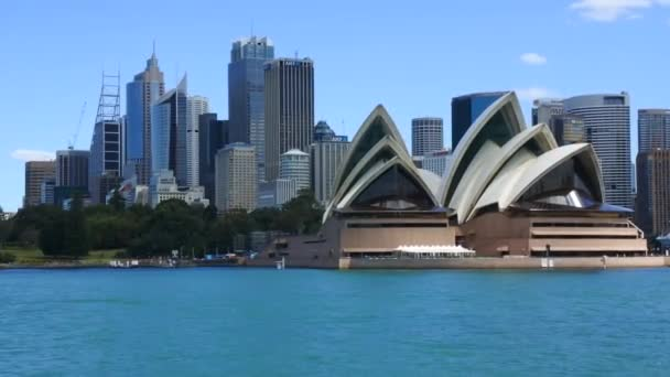 Sydney skyline from the water point of view in Sydney Harbour New South Wales, Australia.
