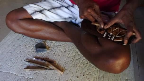01cb36c5b39 Indigenous Fijian man wood carving a sea turtle — Stock Video ...