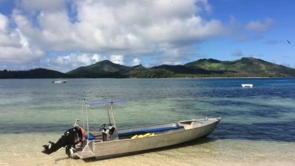 Couple on stand up paddle board surfing in Fiji
