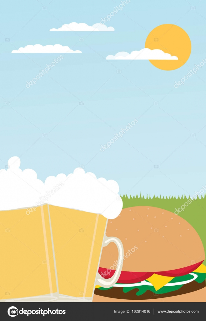 Hambúrgueres Cerveja E Churrasco Festa Convite Panfleto Estoque