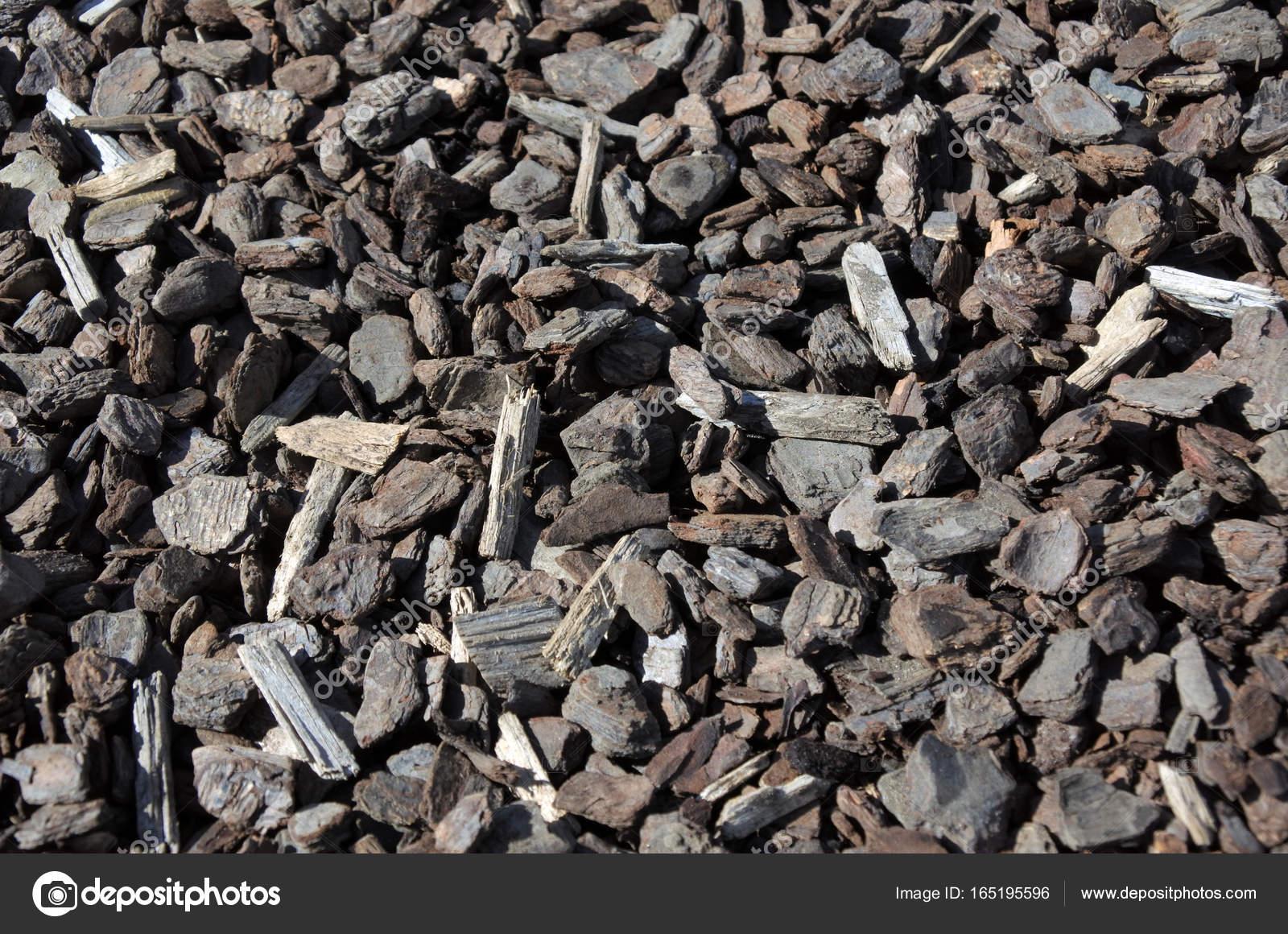 Rinde Chips Rindenmulch Trockenen Holzspänen Garten Stockfoto