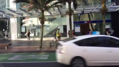 AUCKLAND - NOV 29 2017: Rush hour on Queen Street in Auckland , New Zealand. Queen Street is the major commercial thoroughfare in the Auckland CBD, Auckland, New Zealand's main population centre.