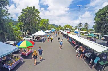 Aerial view of Punanga Nui Market Rarotonga Cook Islands