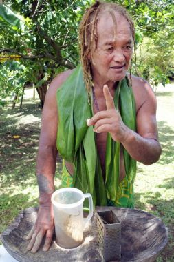 Cook Islander man prepares Kava drink in Rarotonga Cook Island