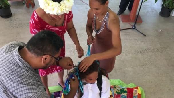 Foukaní obřad v Matavera Rarotonga Cookovy ostrovy