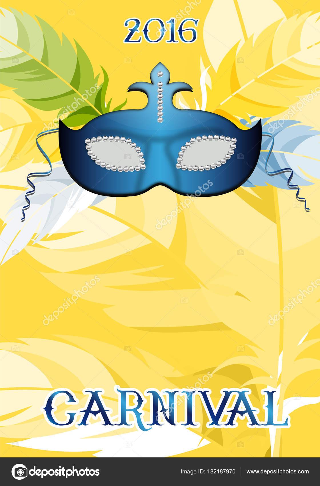 f7a78f67c Modrá karneval maska s žlutým pozadím pro karneval plakát — Vektor od ...