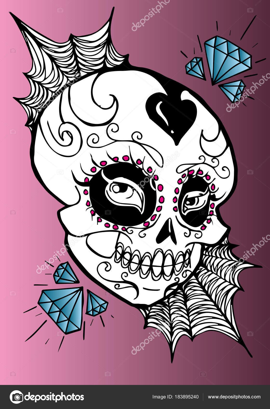 Imágenes Catrinas Dibujadas Cráneo Decorado Con Diamantes La