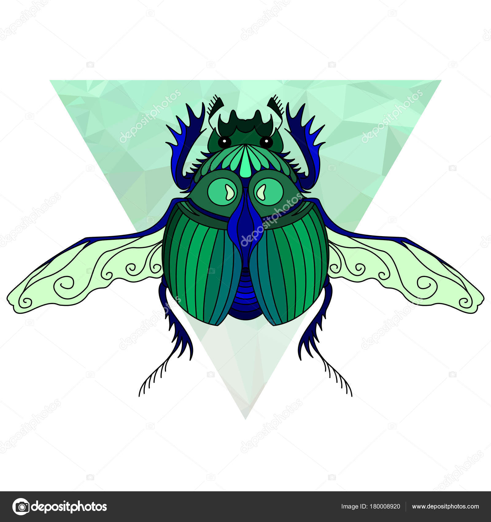 Scarab Bug Egyptian Symbol Wildlife Bug Vector Illustration Stock