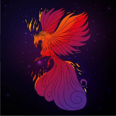 Phoenix bird, legendary bird that is cyclically reborn, vector illustration