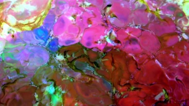 Liquid barevné barvy pattens mix ve zpomaleném filmu. Tekutá barva barvy vzory textury horní pohled. Multicolor tekutý nátěr povrch.