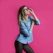 Photo girl in pantyhose and glasses