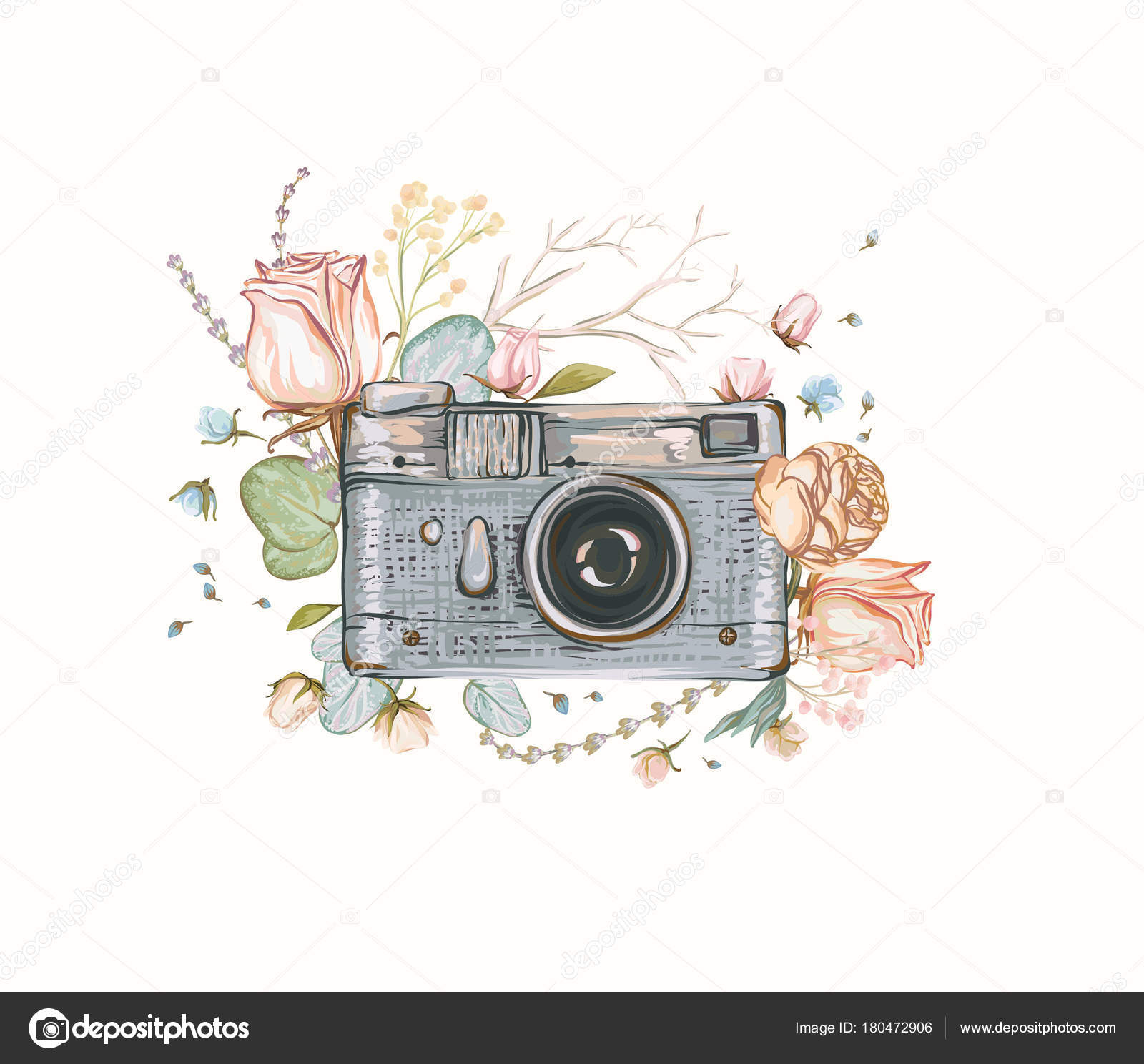 Vintage Retro Photo Camera Flowers Leaves Branches White