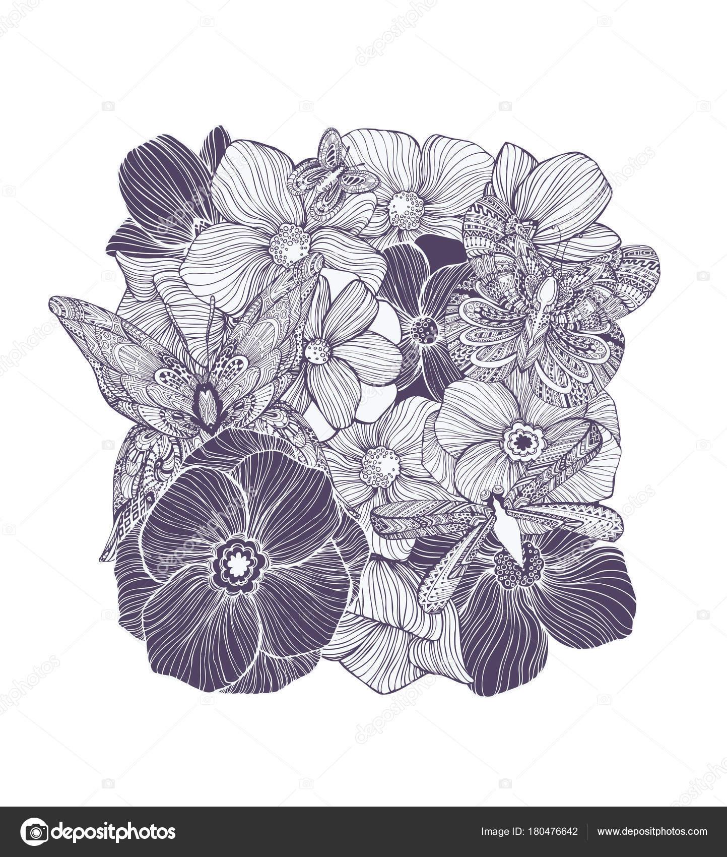 Süße Schmetterlinge Und Libellen Blüten Blätter Erwachsene Malbuch ...