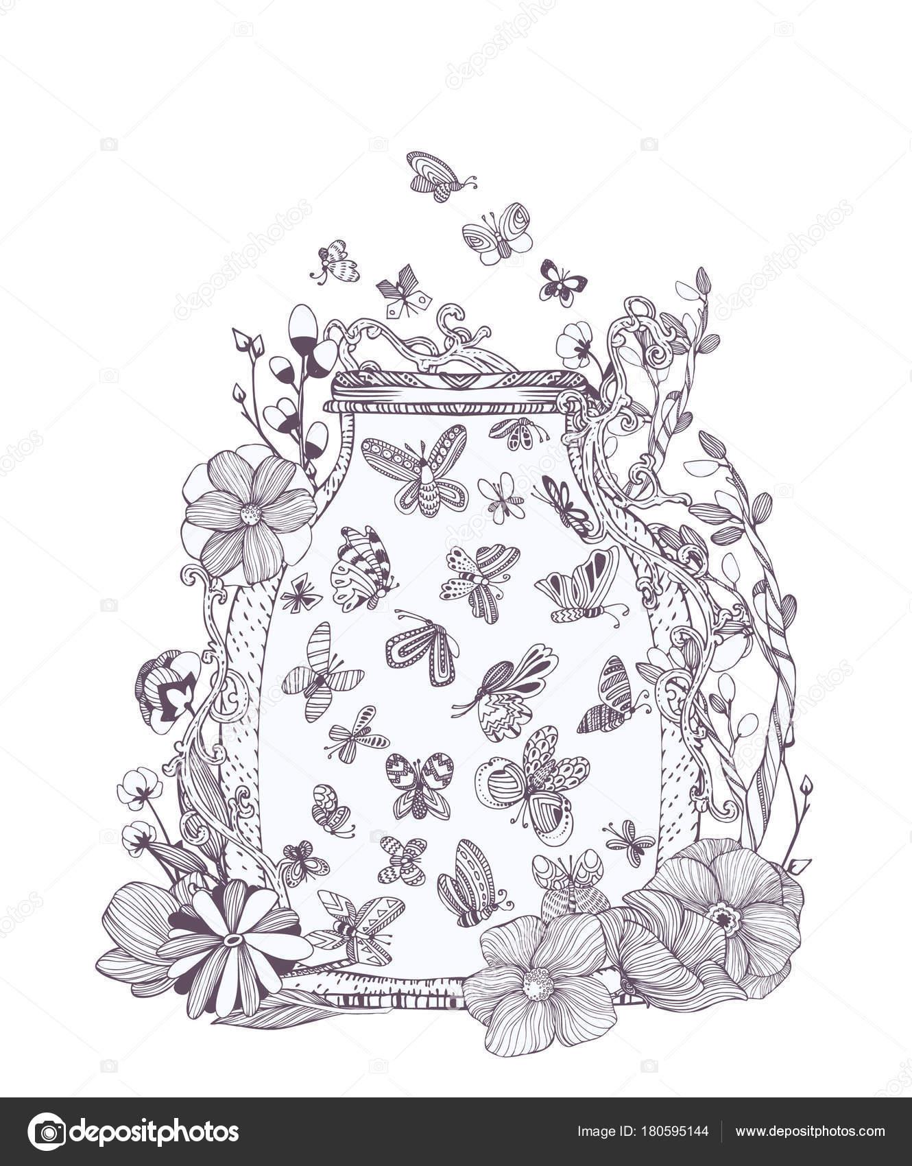 Schwarz Und Weiß Eingestellt Von Niedlichen Schmetterlingen Bug ...