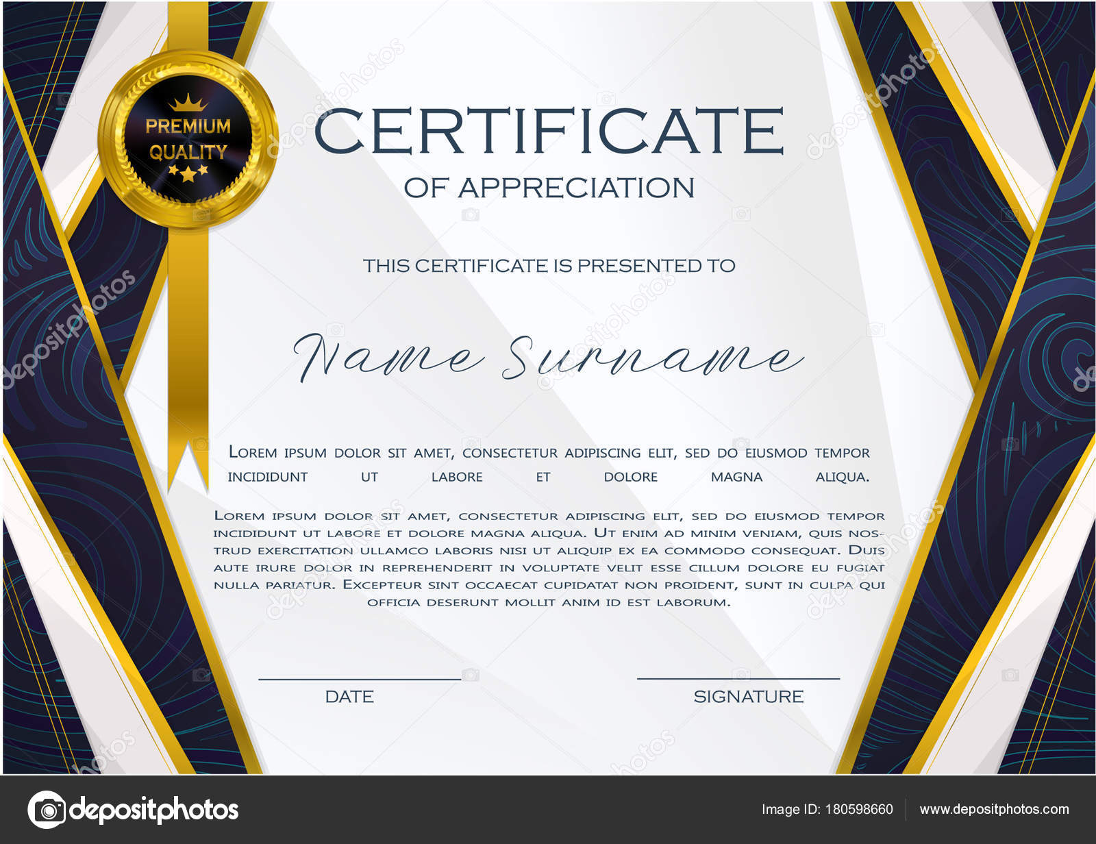Qualification certificate appreciation design elegant luxury modern qualification certificate of appreciation design elegant luxury and modern pattern best quality award template with blue and golden tapes shapes badge yadclub Images
