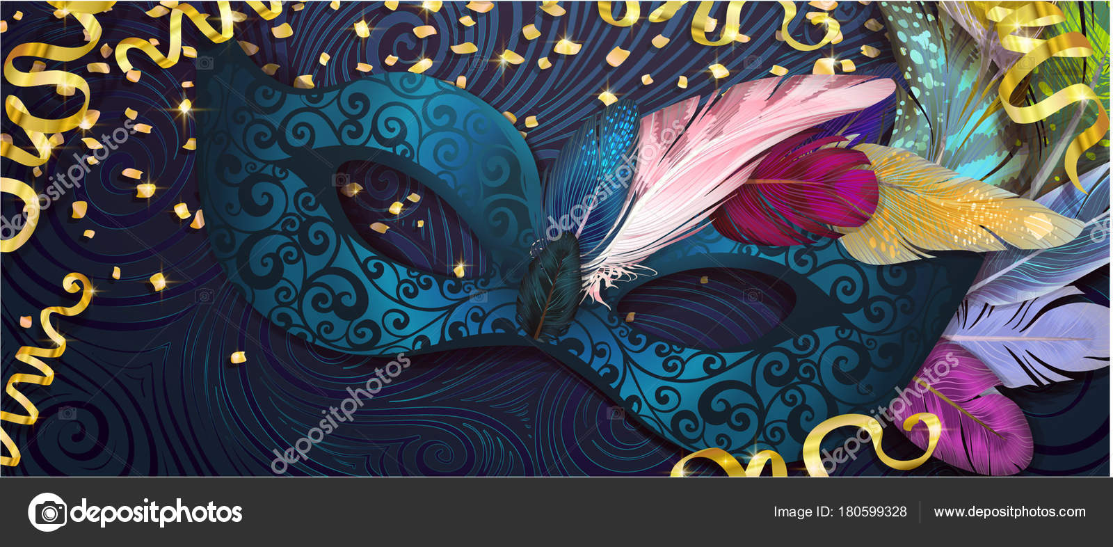 Agua Máscara Realista Carnaval Mardi Gras Folletos Invitación Banner ...