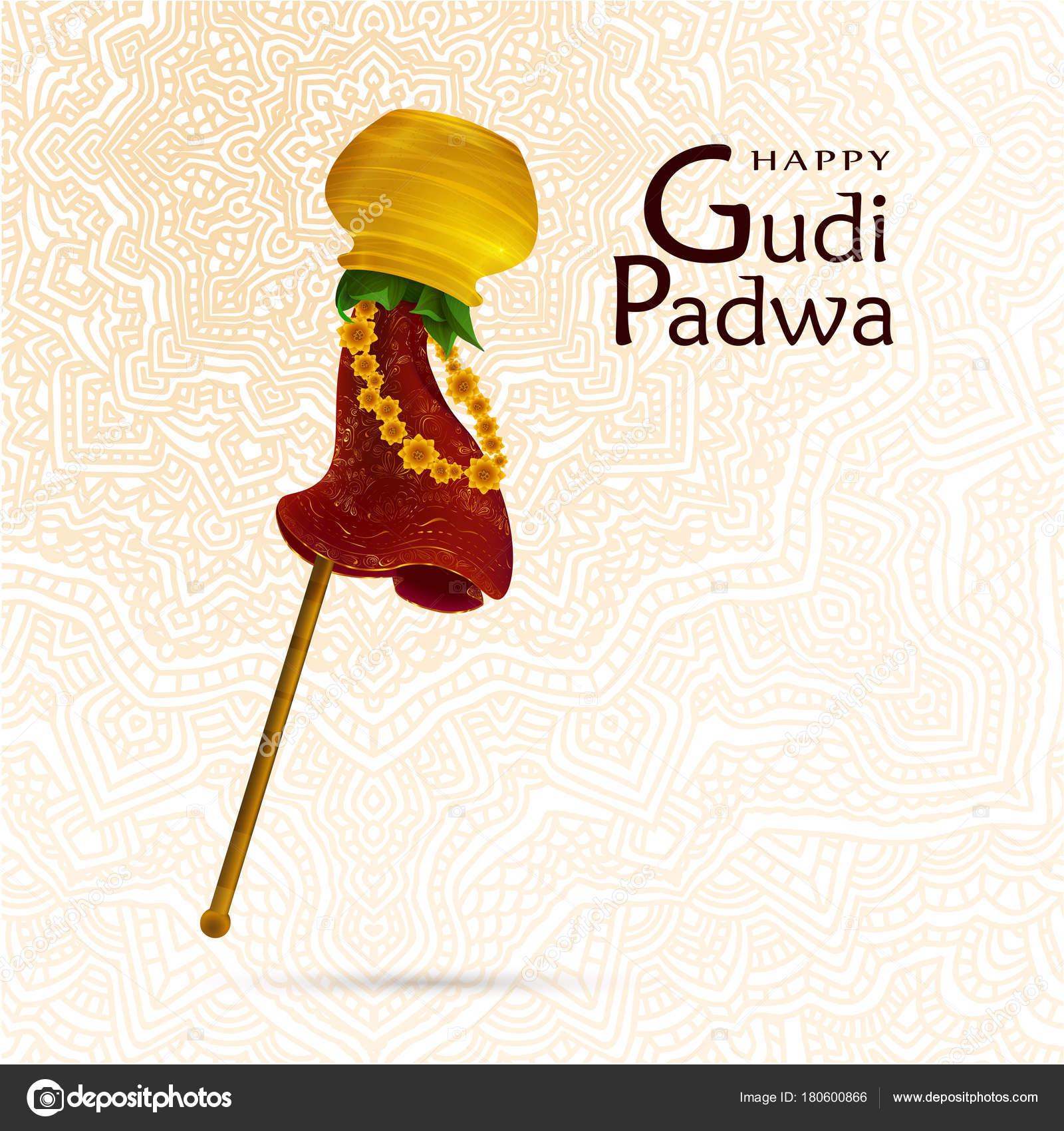 Happy Gudi Padwa Celebration India Template Greeting Card Hand Drawn