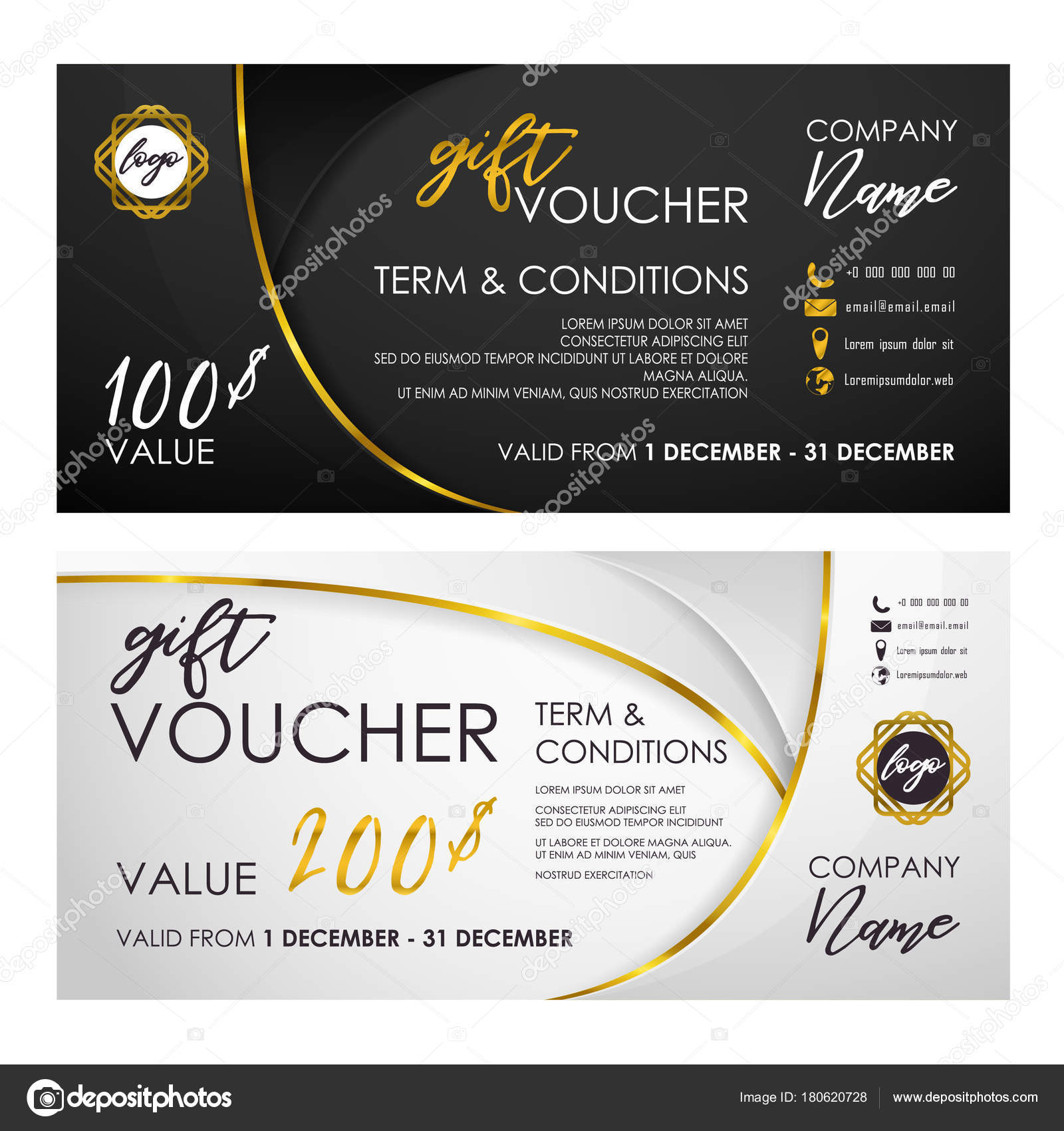 Gift Voucher Set White Black Golden Ribbon Halftone Minimalist ...