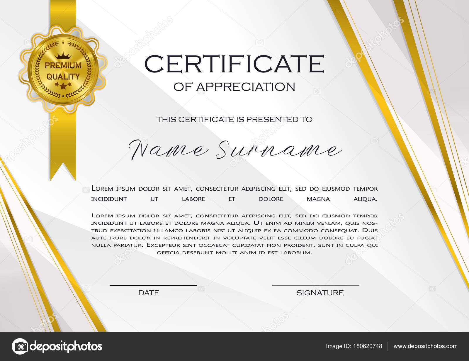 Qualification certificate appreciation design elegant luxury modern qualification certificate of appreciation design elegant luxury and modern pattern best quality award template with white and golden tapes shapes badge yadclub Gallery