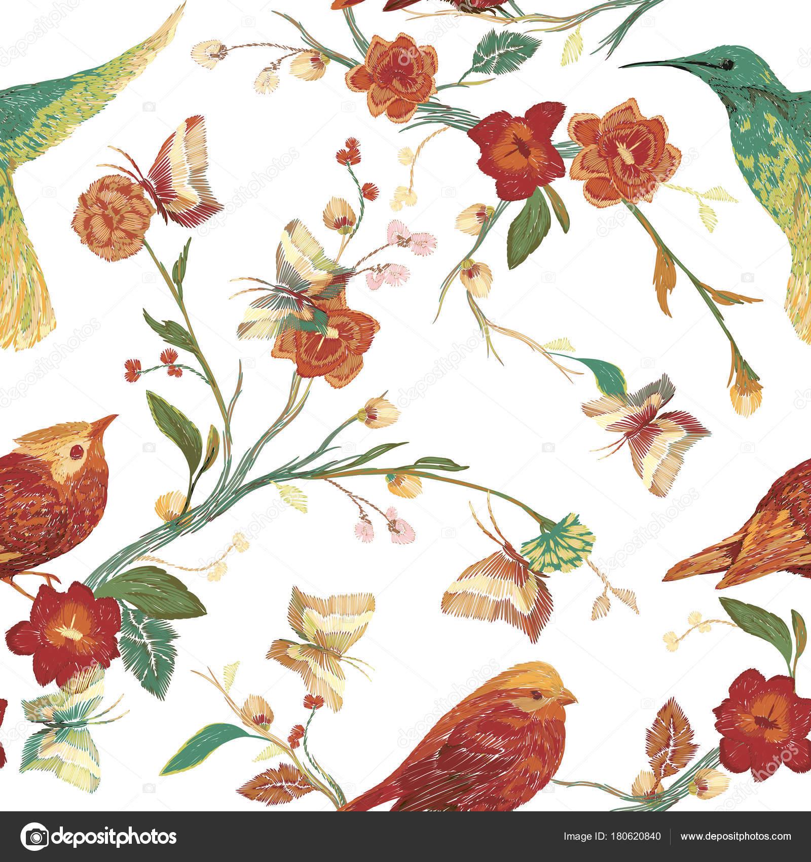 Vintage Patrones Sin Fisuras Pájaro Mariposa Flores Hojas Ramas ...