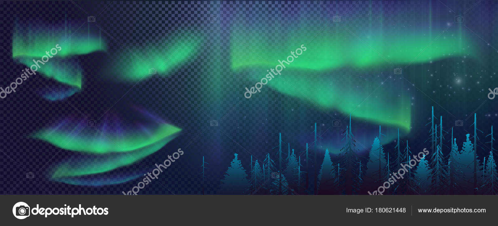 Night Sky Aurora Borealis Northern Lights Effect Realistic Colored