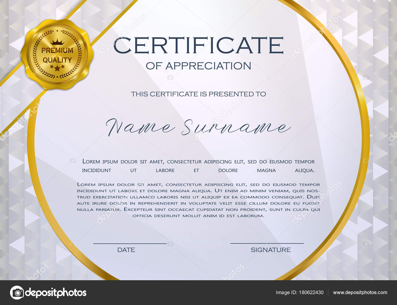 qualification certificate of appreciation design elegant luxury and modern pattern best quality award template with white and golden tapes shapes badge