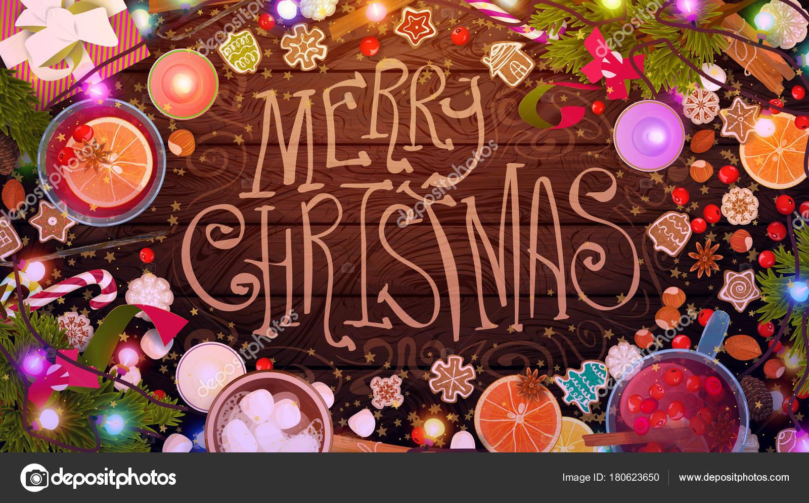 frohe weihnachten essen feier kochen auf holztextur. Black Bedroom Furniture Sets. Home Design Ideas