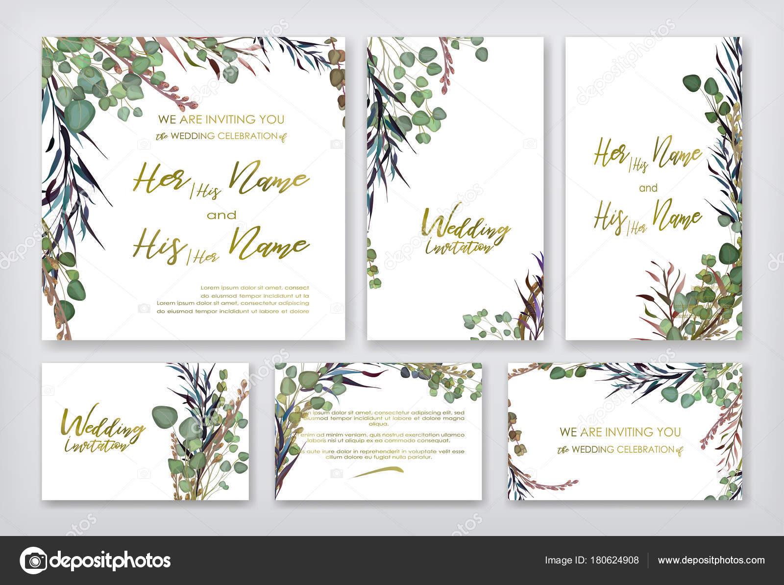 Hochzeit Einladung Frames Eingestellt Blumen Blätter Aquarell ...