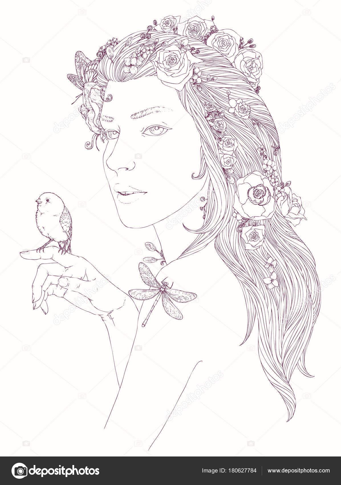 Retrato Joven Bella Mujer Con Flores Pelo Lindo Pajarito Mano ...
