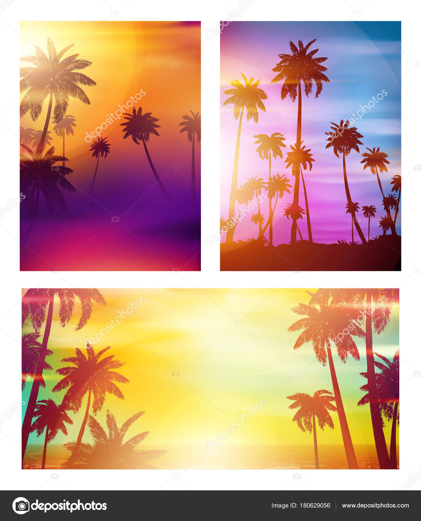 colorful summer banners tropical backgrounds set palms sea clouds