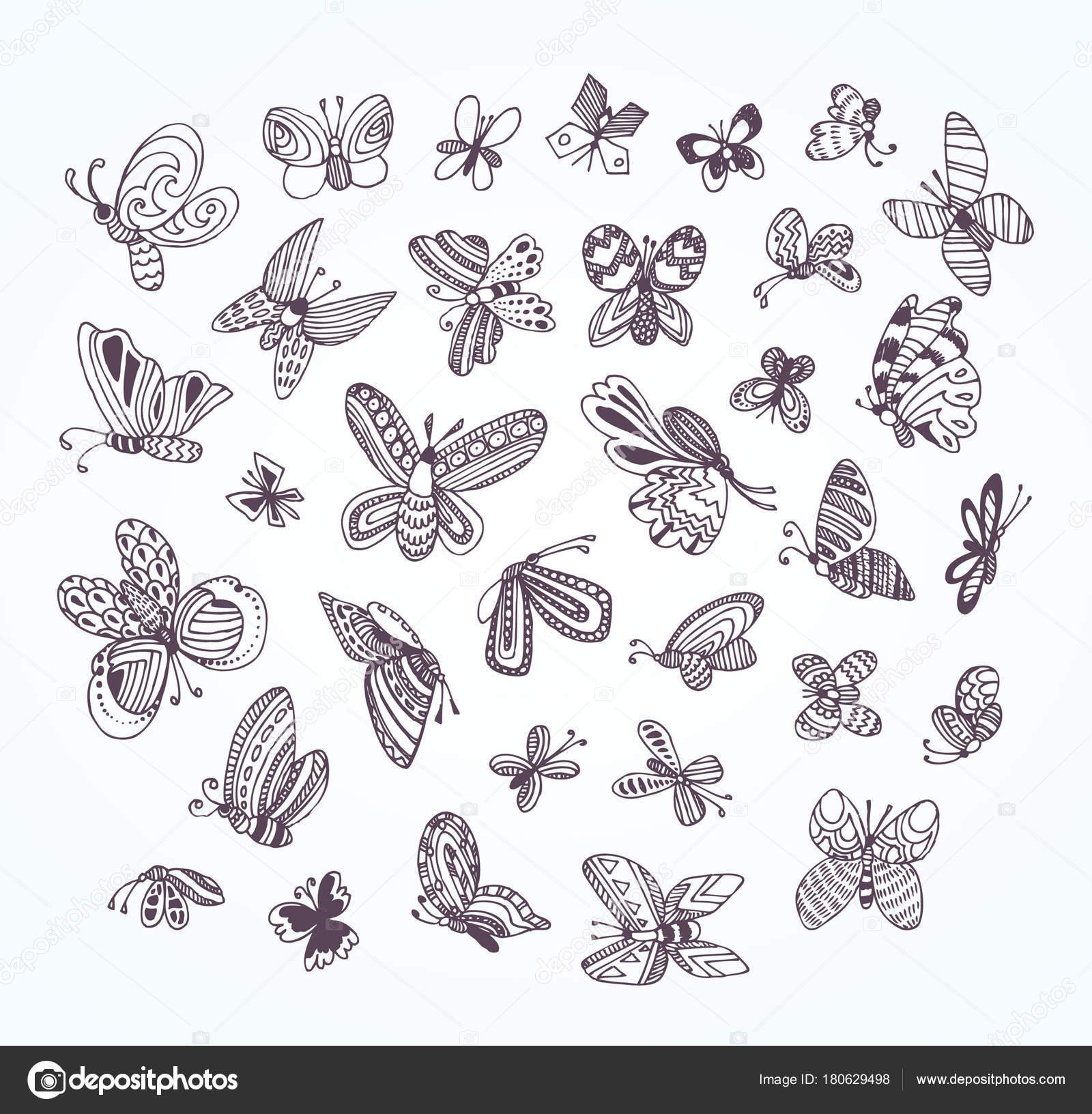 Siyah Beyaz Sevimli Kelebekler Yetişkin Kitap Sayfa Boyama Doodle