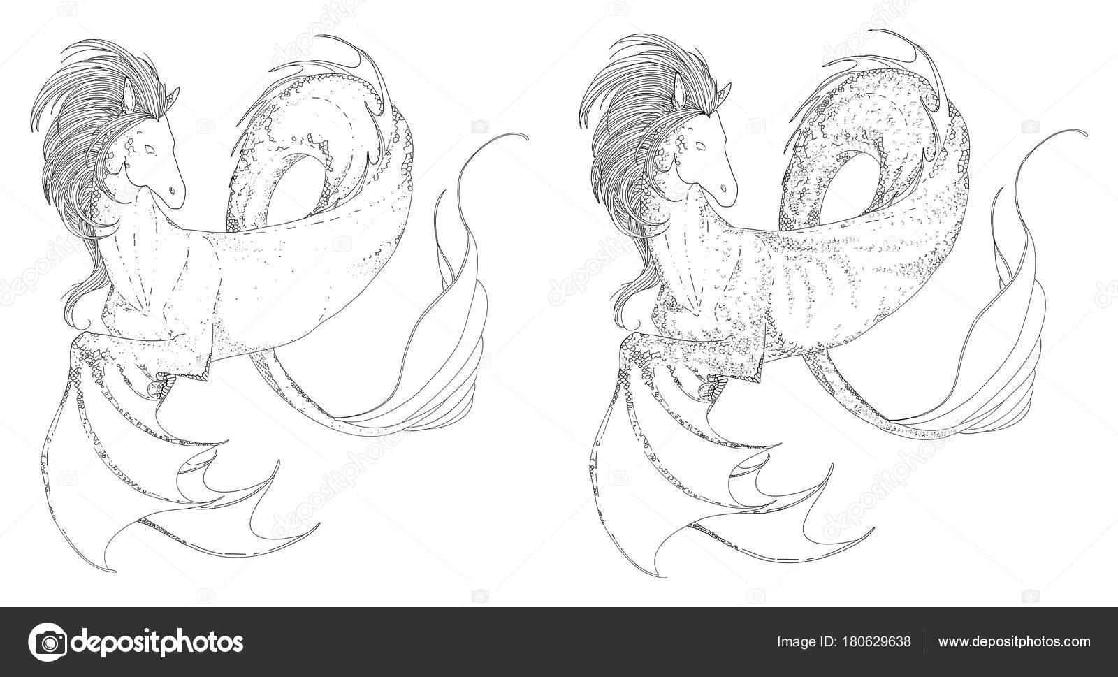 Hand Drawn Vintage Hippocampus Kelpie Magic Sea Water Horse Folklore Stock Vector C Gluiki 180629638