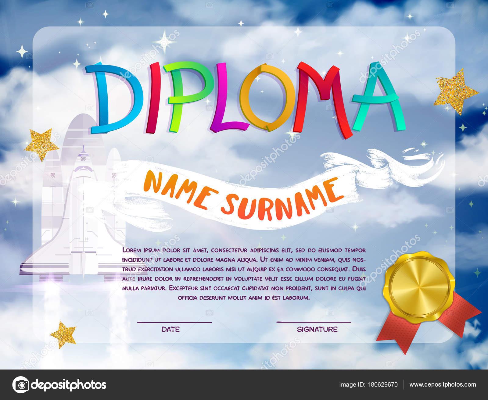 Diseño Certificado Diploma Niños Plantilla Jardín Infantes Con Fondo ...