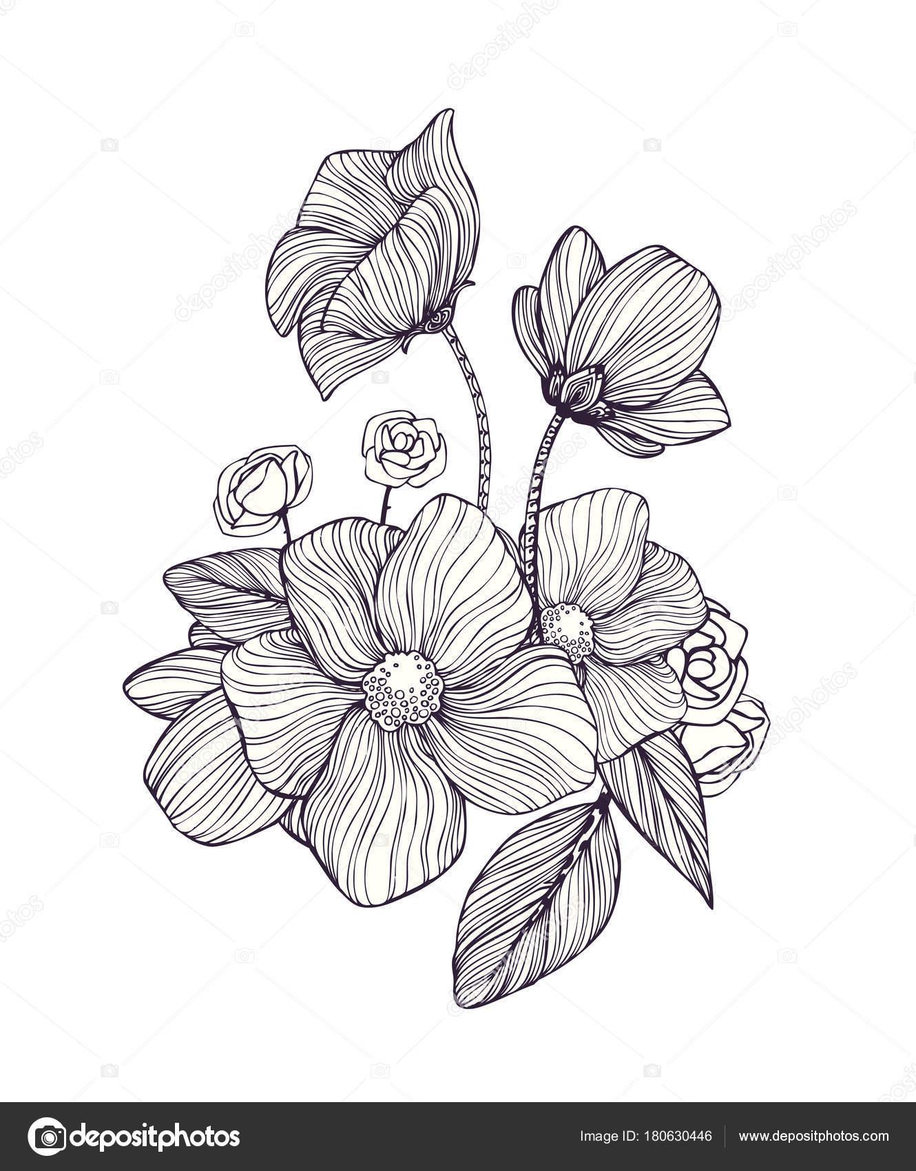 черно белые декоративные фантастические цветы волшебная