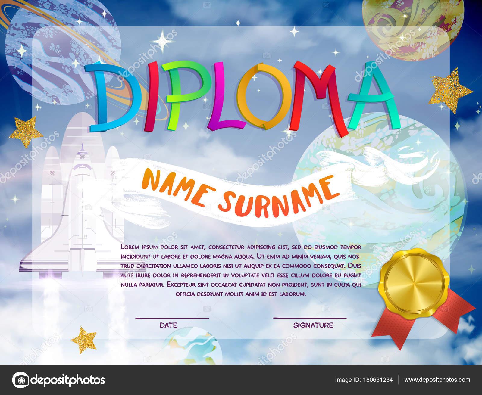 Certificaat design kids diploma kleuterschool sjabloon met ruimte