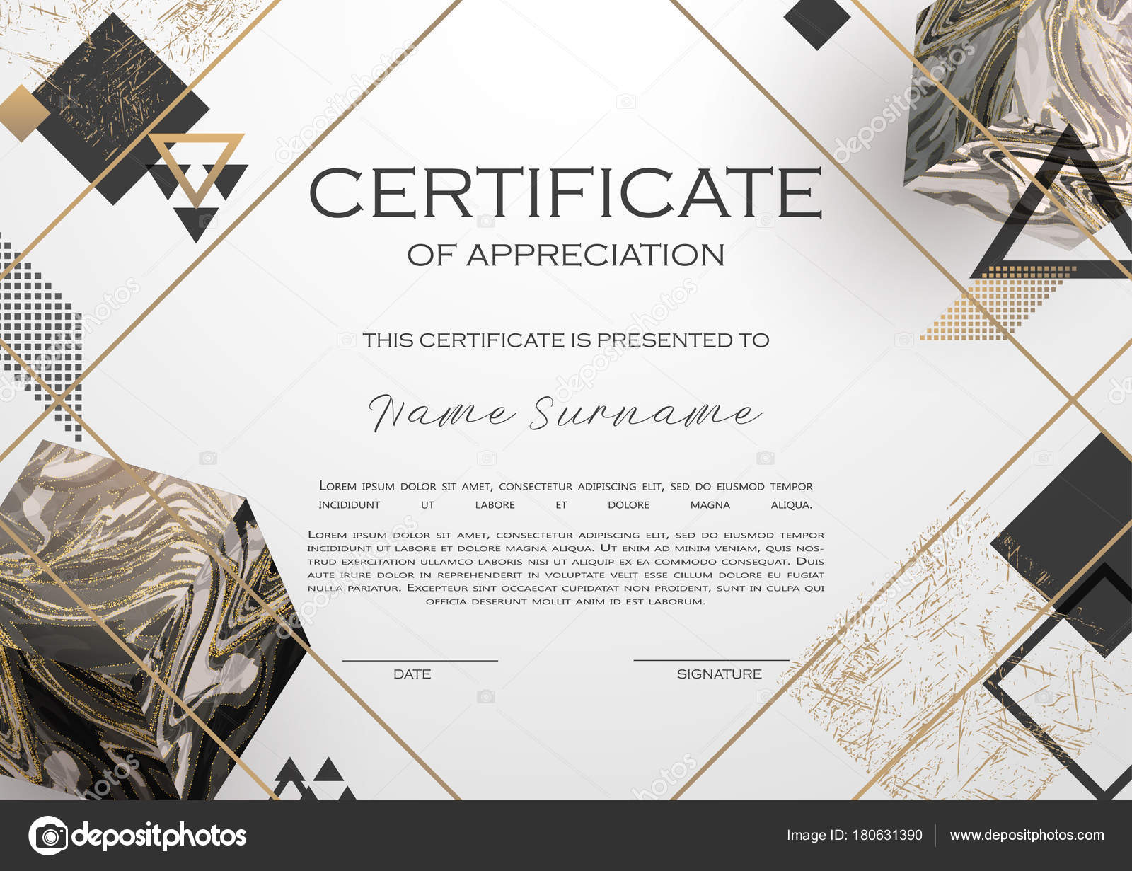 Qualification certificate appreciation design elegant luxury modern qualification certificate of appreciation design elegant luxury and modern pattern best quality award template with white and golden tapes shapes yelopaper Gallery