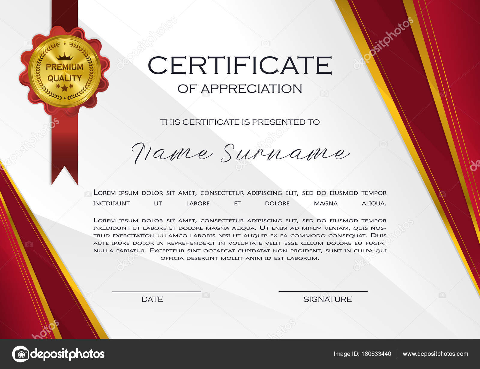 Qualification certificate appreciation design elegant luxury qualification certificate of appreciation design elegant luxury and modern pattern best quality award template with red and golden tapes shapes badge alramifo Image collections