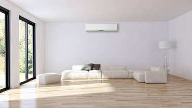 Modern bright interior with air conditioning 3D rendering illustration