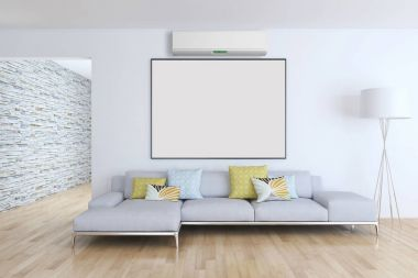 Modern interior with air conditioning 3D rendering illustration