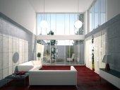Photo Modern bright interiors 3D rendering illustration