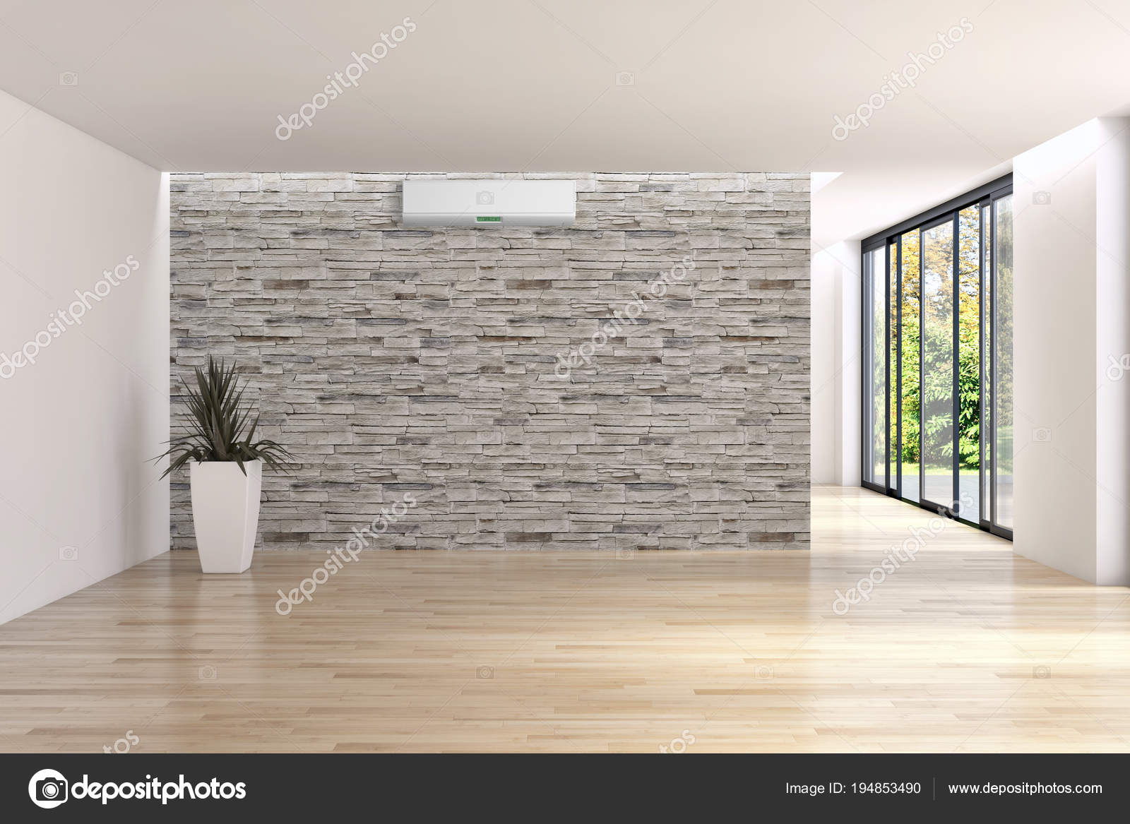 Modern interieur appartement met airconditioning d rendering