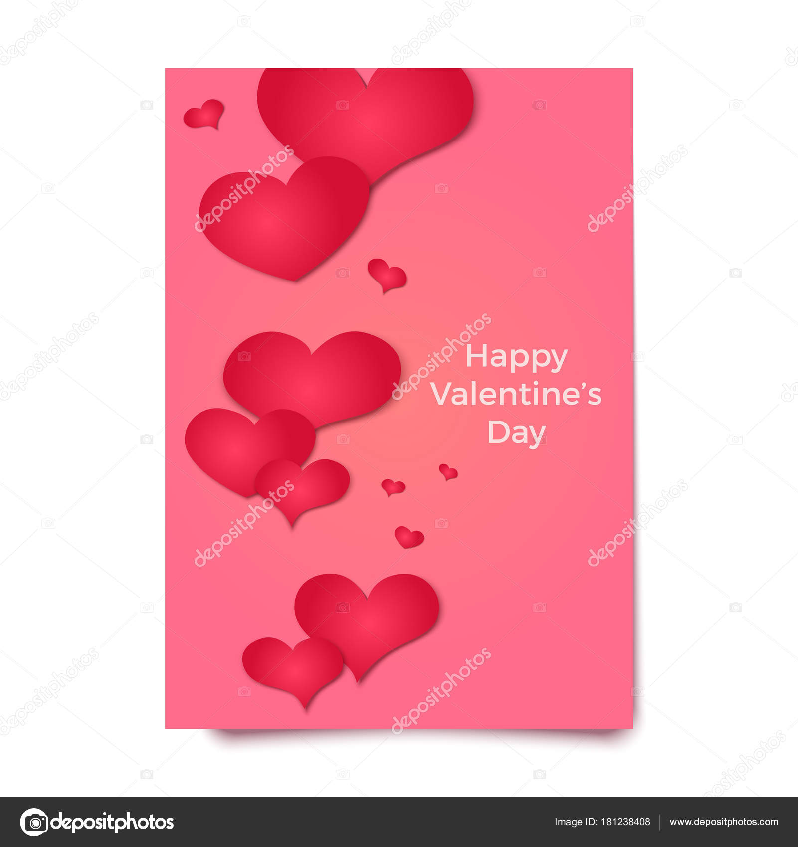 Happy Valentines Day Card Poster Broshure Or Flyer Template Red