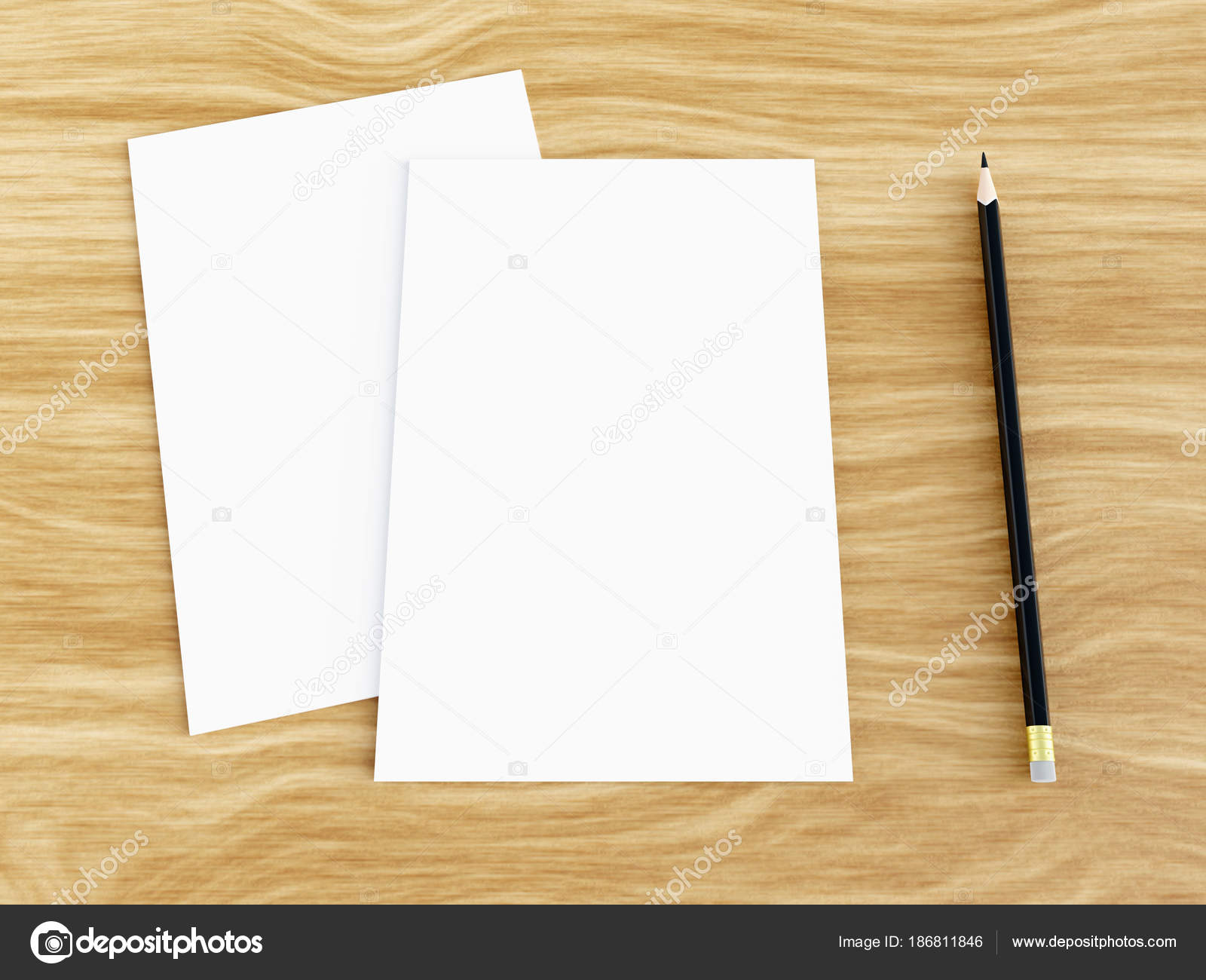 Blank White Greeting Card Mockup With Pencil On Wooden Table Angled