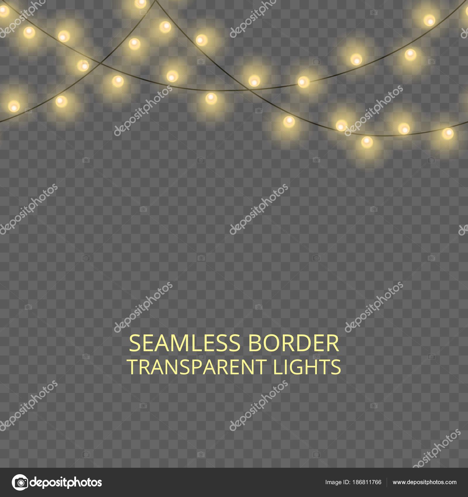Transparent Lights Garland Seamless Border Festive Decoration